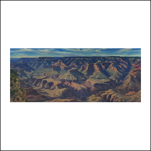 Art work by Jorge Obregon, Shadows at Grand Canyon, painting, 20 x 47.25 in (50 x 120 cm)