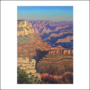 Art work by Jorge Obregon, Sunrise at South Rim, painting, 21.75 x 16 in (55 x 40 cm)