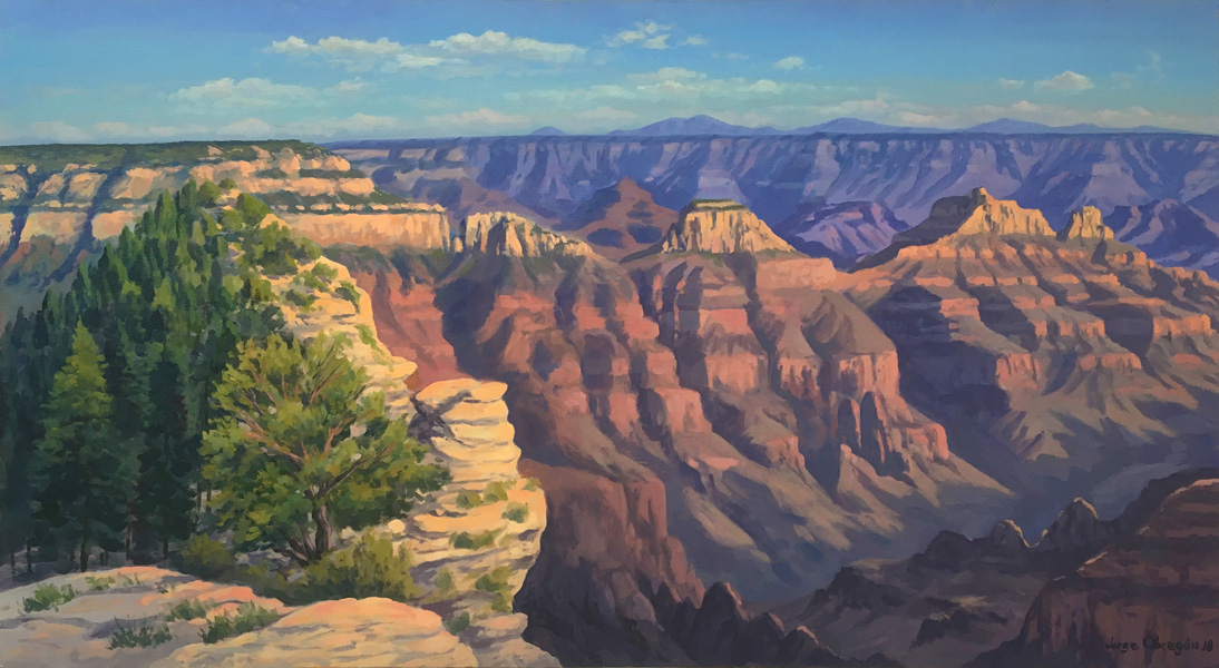 Art work by Jorge Obregon, Sunset at Grand Canyon North Rim, painting, 21.5 x 39.5 in (55 x 100 cm)
