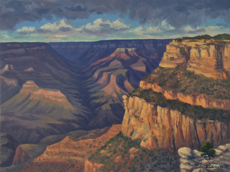 Art work by Jorge Obregon, The North Rim from the South Rim, painting, 12 x 16 in (30 x 40 cm)