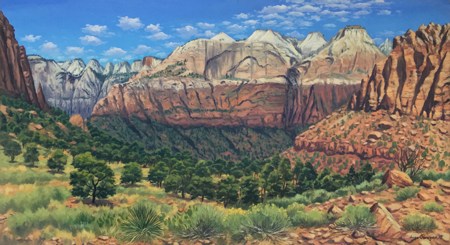 Art work by Jorge Obregon, Zion, painting, 23.75 x 43.5 in (60 x 110 cm)