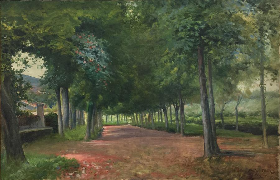 Art work by Jose Arpa, Paseo de la Villa, painting, 20 x 30 inches (51 x 77 cm)