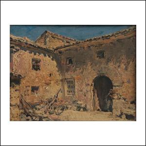 Art work by Jose Arpa, Un Rincon de Vizmalo Palencia, painting, 10 1/2 x 13 1/2 inches (27 x 34.5 cm)