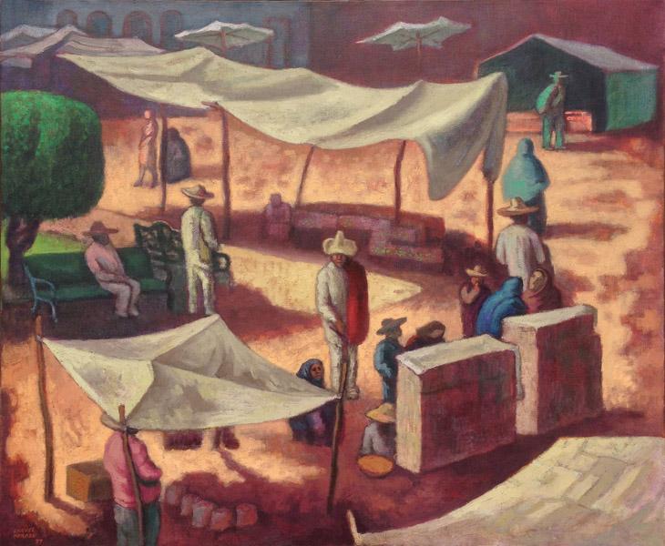 Art work by Jose Chavez Morado, Mercado en la Plaza, painting, 39.25 x 47.25 inches (100 x 120 cm)
