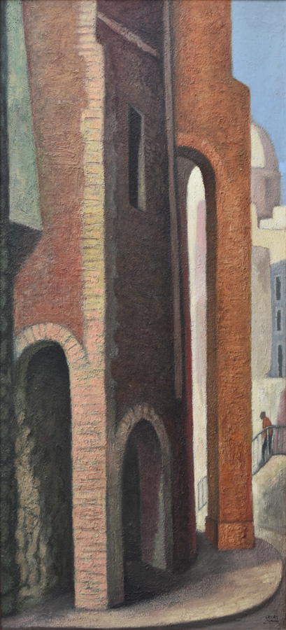 Art work by Jose Chavez Morado, Paisaje Arquitectónico, painting, 65 x 29 1/2 inches (165.5 x 75 cm)