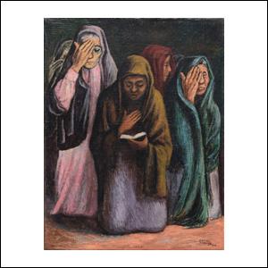 Art work by Jose Chavez Morado, Rezanderas, painting, 39 x 30 cm