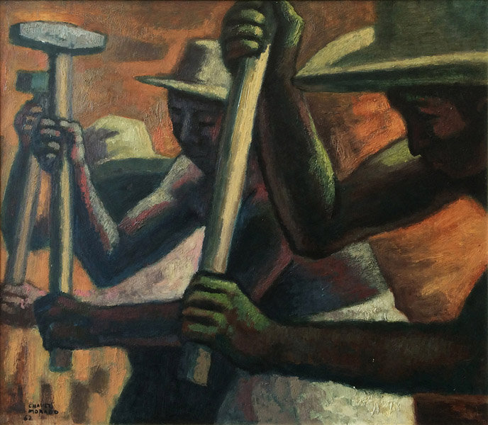 Art work by Jose Chavez Morado, Workers, painting, 27.5 x 31.5 inches (70 x 80 cm)