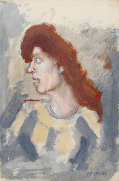 Art work by Jose Clemente Orozco, Woman with Red Hair, painting, 19 1/2 x 12 1/2 inches  (50 x 32 cm)
