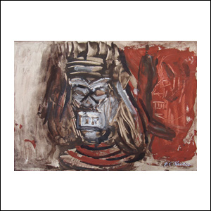 Art work by Jose Clemente Orozco, Nahual Mask, painting, 11.4 x 15.7 in (29 x 40 cm)