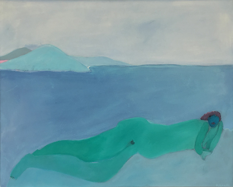 Art work by Joy Laville, Green Nude, painting, 31.5 x 39.5 in (80 x 100 cm)