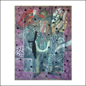 Art work by Julio Galan, Autorretrato con Cebra, painting, 83.5 x 45.7 in (212 x 116 cm)