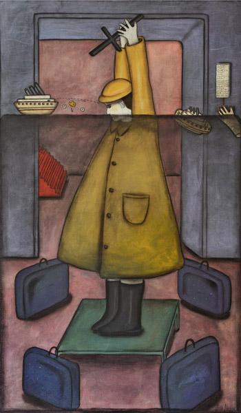 Art work by Julio Galan, Esta aproximándose...buen viaje..., painting, 66.9 x 39.3 in (170 x 100 cm)