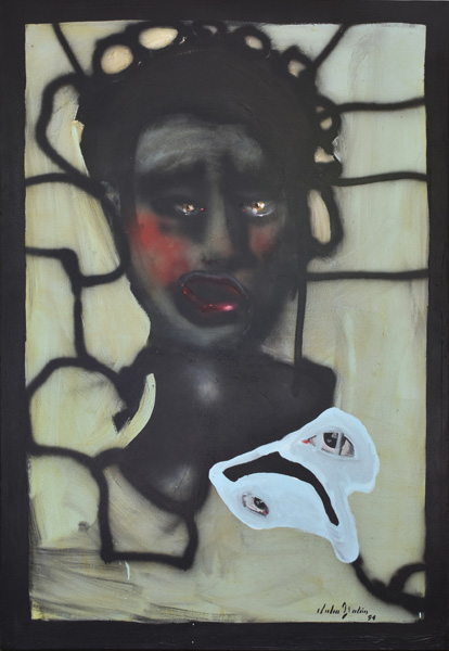 Art work by Julio Galan, Untitled, 1994, painting, 74 1/2 x 50 3/4 inches (189 x 129.5 cm)