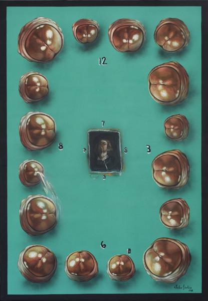 Art work by Julio Galan, Upside Down San Antonio, painting, 73 1/2 x 51 inches (187 x 130 cm)