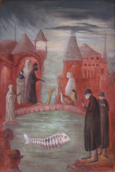 Art work by Leonora Carrington, March Sunday, painting, 91.5 x 61 cm
