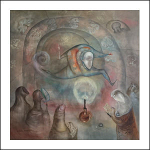 Art work by Leonora Carrington, JACK BE NIMBLE JACK BE QUICK, painting, 90 x 90 cm