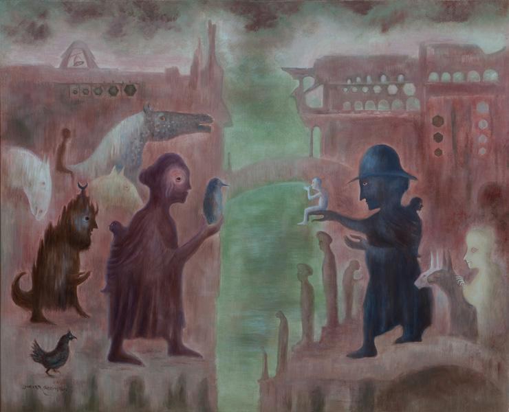 Art work by Leonora Carrington, Las Suegras, painting, 60 x 80 cm