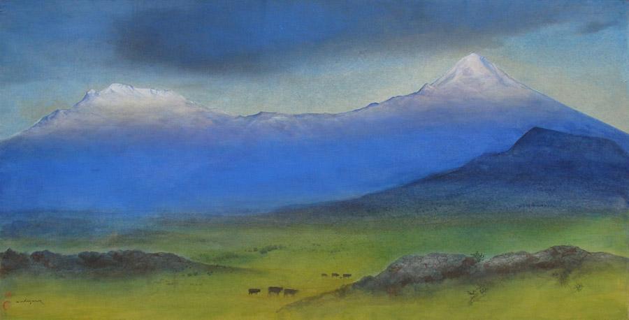 Art work by Luis Nishizawa, Sunset (Atardecer), painting, 37.4 x 73.4 in (95 x 186.5 cm)