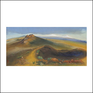 Art work by Luis Nishizawa, Cajetes, painting, 34.75 x 71 in (88.3 x 180 cm)