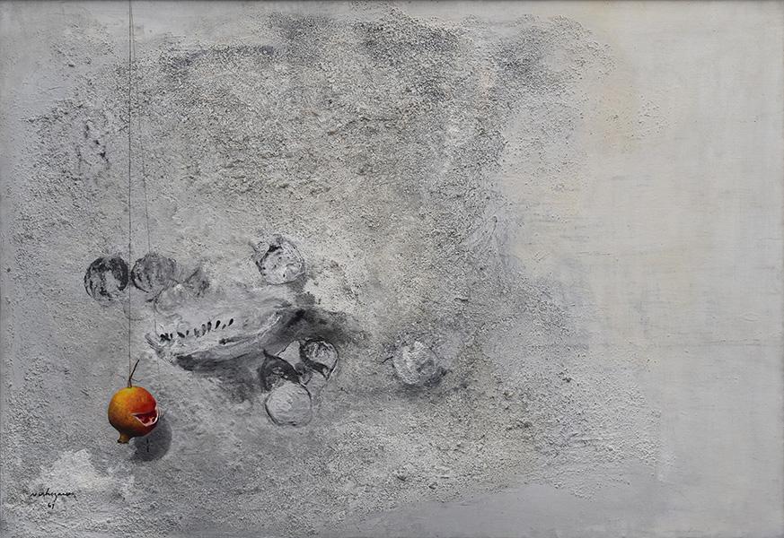 Art work by Luis Nishizawa, Pomegranate (Granada), painting, 47 1/2 x 69 inches (121 x 175 cm)