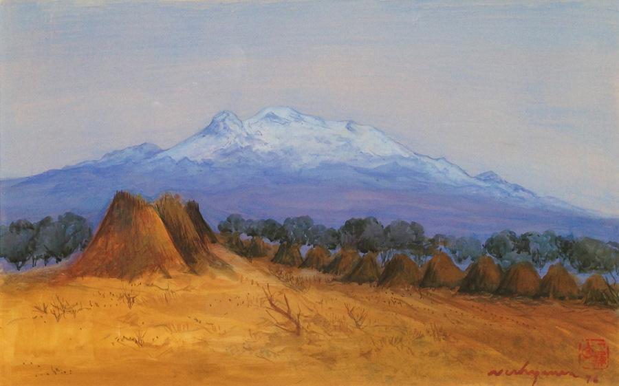 Art work by Luis Nishizawa, Iztaccihuatl, painting, 12.5 x 19.5 in (32 x 50 cm)