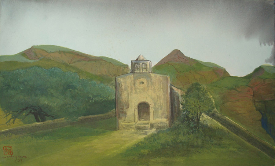 Art work by Luis Nishizawa, Morelos State Chapel, painting, 17.7 x 29.5 in (45 x 75 cm)