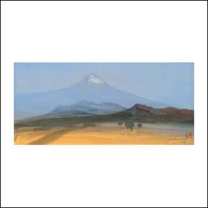 Art work by Luis Nishizawa, La Lluvia Sobre El Valle, painting, 10 x 21.5 in (25 x 55 cm)