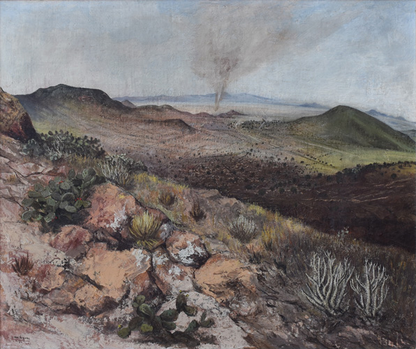 Art work by Luis Nishizawa, Paisaje con Tornado, painting, 30.6 x 36 cm