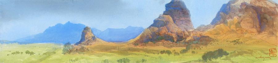 Art work by Luis Nishizawa, Paisaje, painting, 19 x 88.5 cm
