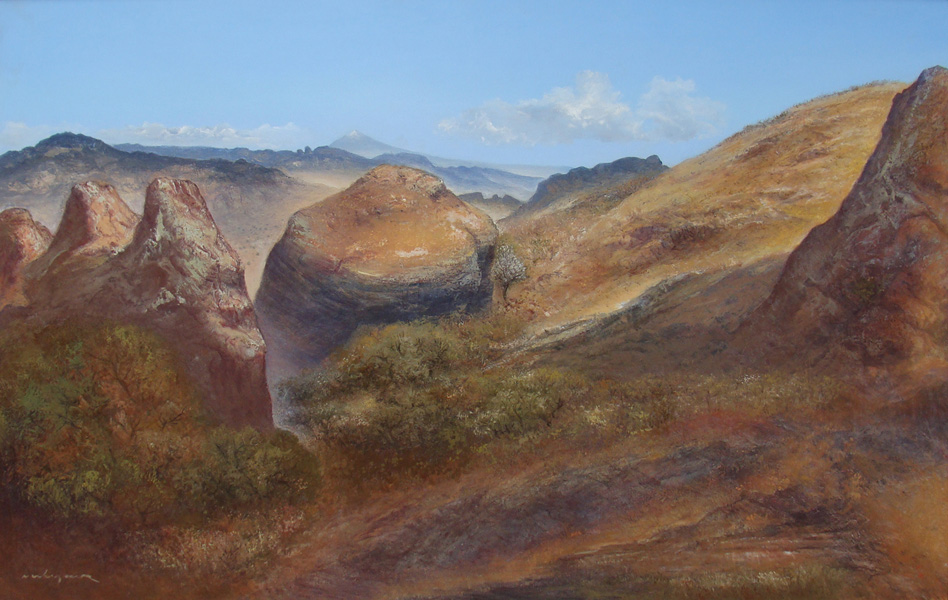 Art work by Luis Nishizawa, Valle del Tepozteco, painting, 81 x 124 cm