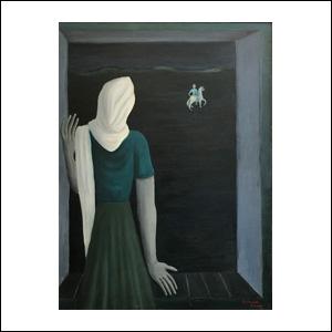 Art work by Manuel Rodriguez Lozano, Saudades (Nostalgia), painting, 37 1/2 x 27 1/2 inches (95 x 70 cm)