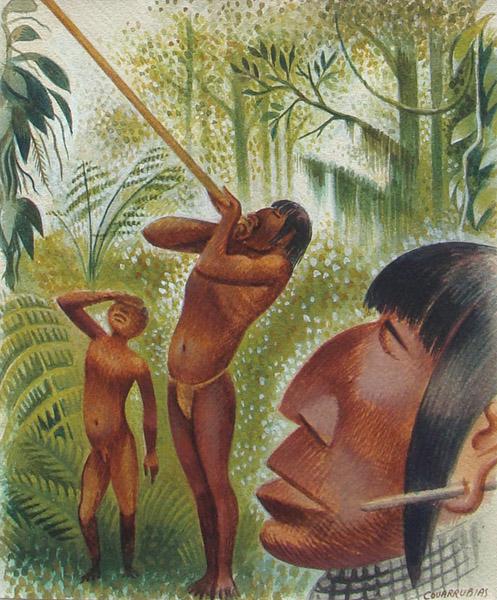 Art work by Miguel Covarrubias, De Piel Morena Ojos Rasgados y Sigilosos, painting, 23.5 x 19.3 cm