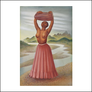 Art work by Miguel Covarrubias, Woman in the Tehuantepec River, painting, 22 3/4 x 15 in (57.8 x 38 cm)