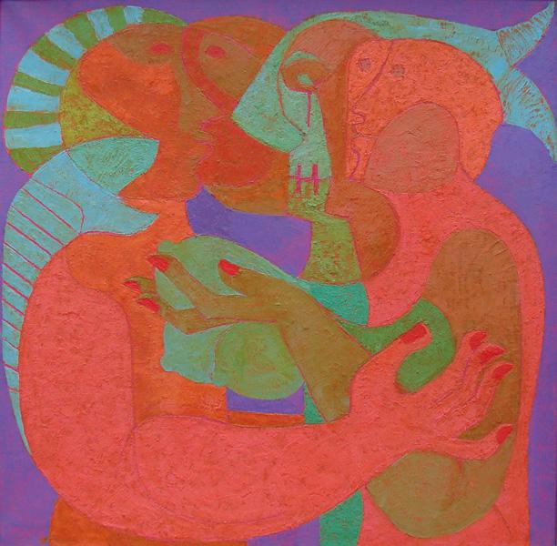 Art work by Pedro Coronel, Adan y Eva, painting, 80 x 80 cm