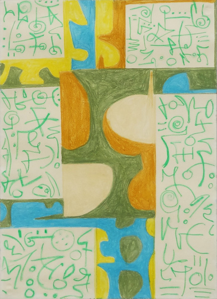 Art work by Pedro Coronel, Sin título, Roma '69, painting, 26 3/4 x 19 1/4 inches (68 x 49 cm)