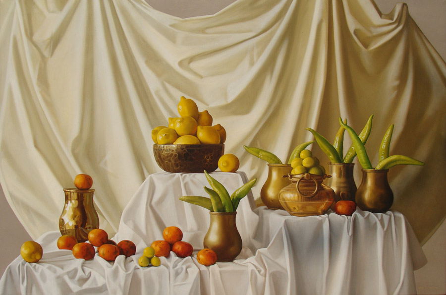 Art work by Peter Von Artens, Copper and Fruit, painting, 42 x 63 in (107 x 160 cm)