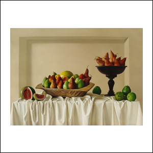 Art work by Peter Von Artens, Still Life with Pears, painting, 38 x 51 in (97 x 130 cm)