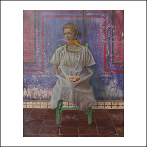 Art work by Rafael Cauduro, El Vestido de Jaqueline, painting, 130 x 100 cm