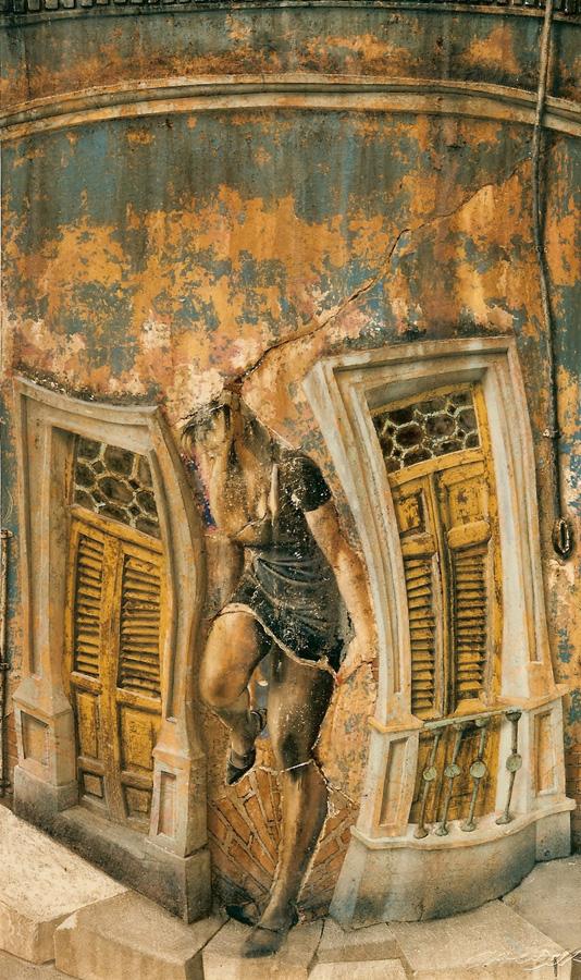 Art work by Rafael Cauduro, La Habana Vieja No. 3, painting, 210 x 122 cm