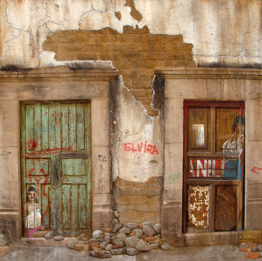 Art work by Rafael Cauduro, Las Puertas Malas, painting, 122 x 122 cm