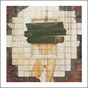 Art work by Rafael Cauduro, Nicho de Baño Tapiado, painting, 51 x 51 in (130 x 130 cm)