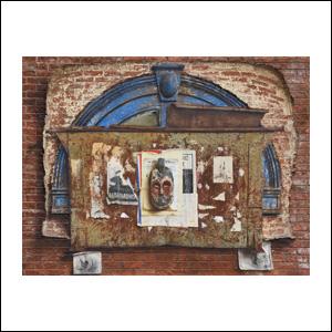 Art work by Rafael Cauduro, The Masks of New York, painting, 46 x 60 in (117 x 152.5 cm)