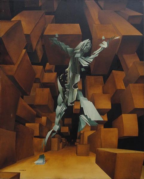 Art work by Rafael Cauduro, Trafico Citadino, painting, 39 1/4 x 31 1/2 inches (100 x 80 cm)