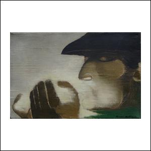 Art work by Ricardo Martinez de Hoyos, El cigarro, painting, 7 3/4 x 11 3/4 inches (20 x 30 cm)