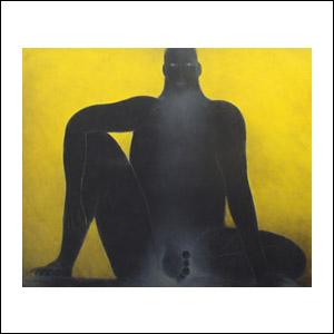 Art work by Ricardo Martinez de Hoyos, Figura en Fondo Amarillo, painting, 130 x 160 cm
