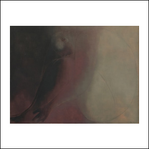 Art work by Ricardo Martinez de Hoyos, Figura en Fondo Rojo, painting, 31.5 x 41.25 inches (80 x 105 cm)