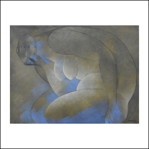Art work by Ricardo Martinez de Hoyos, Mujer en azul, 1979, painting, 80 x 105 cm