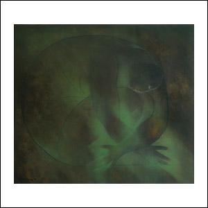 Art work by Ricardo Martinez de Hoyos, Mujer en verde, 1978, painting, 80 x 90 cm