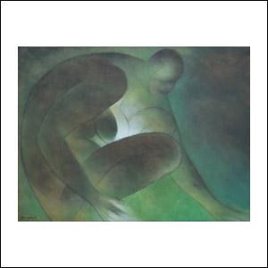 Art work by Ricardo Martinez de Hoyos, Mujer en verde, 1995, painting, 90 x 120 cm