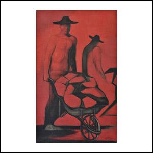Art work by Ricardo Martinez de Hoyos, Trabajadores, painting, 125 x 75 cm